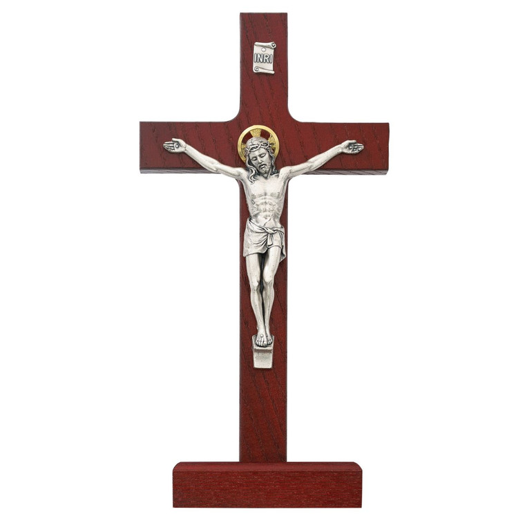 8 in. Cherry Standing Crucifix - Gift Boxed