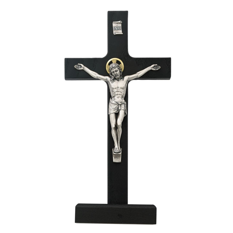 8 in. Black Walnut Standing Crucifix - Gift Boxed