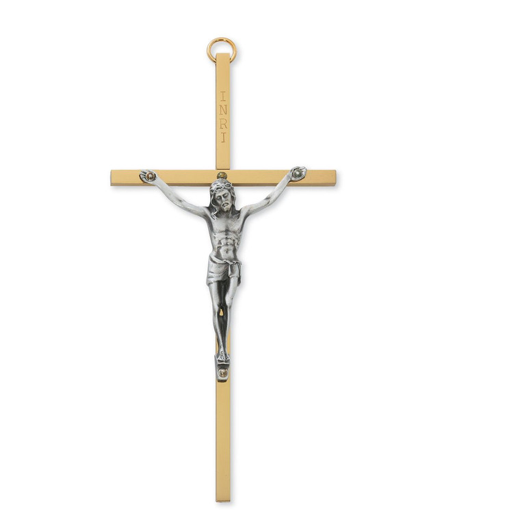 6 in. Brass Cross with Pewter Corpus - Gift Boxed