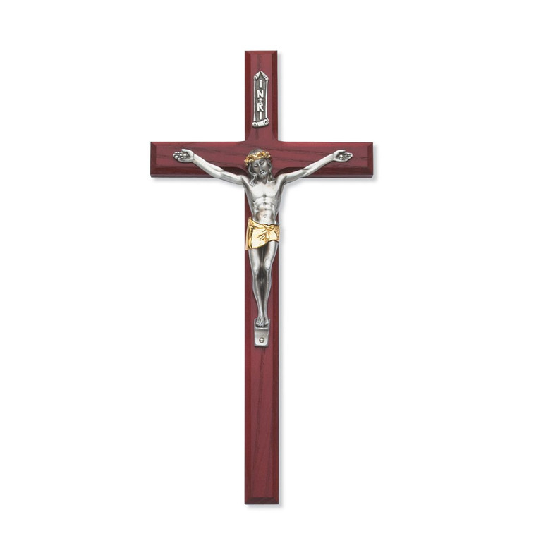 10 in. Beveled Cherry Crucifix with Two Tone Corpus - Gift Boxed