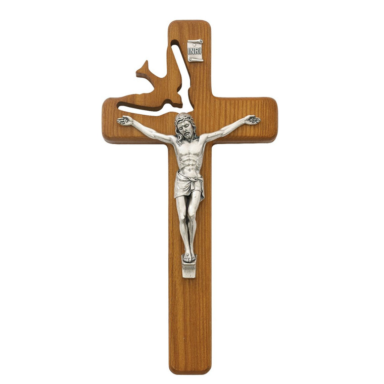 8in Walnut Stain Holy Spirit Crucifix - Gift Boxed