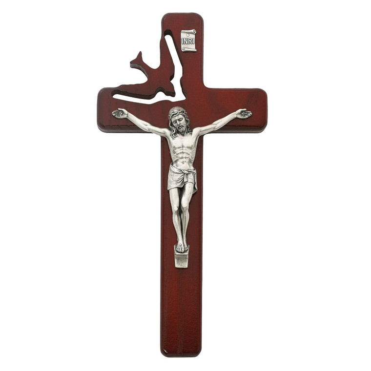 8in Cherry Stain Holy Spirit Crucifix - Gift Boxed