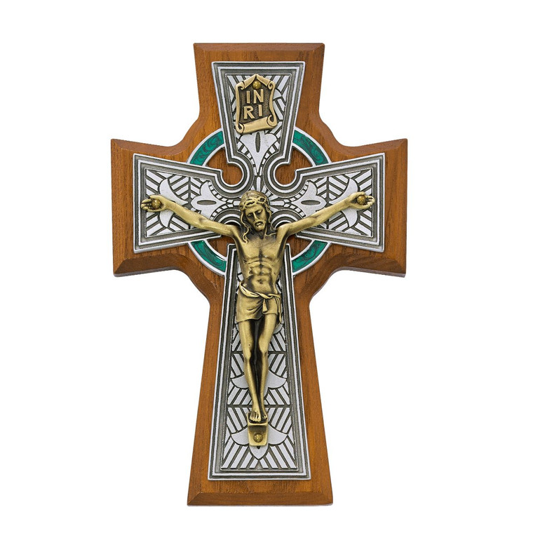 5 1/2in Walnut Stained Celtic Crucifix - Gift Boxed