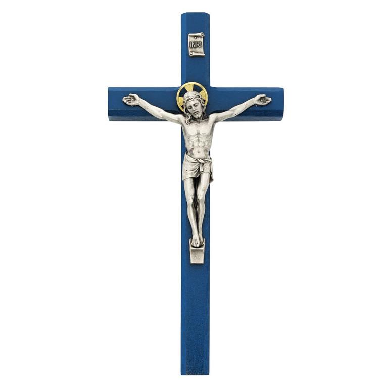 10in Navy Blue Crucifix Silver Oxidized Corpus
