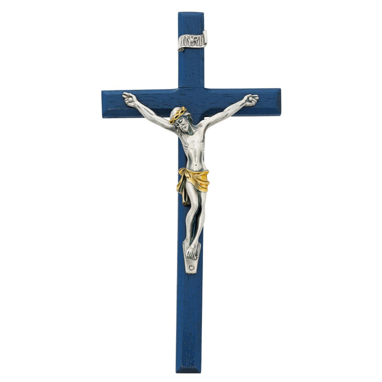 10in Navy Blue Crucifix with Two Tone Corpus