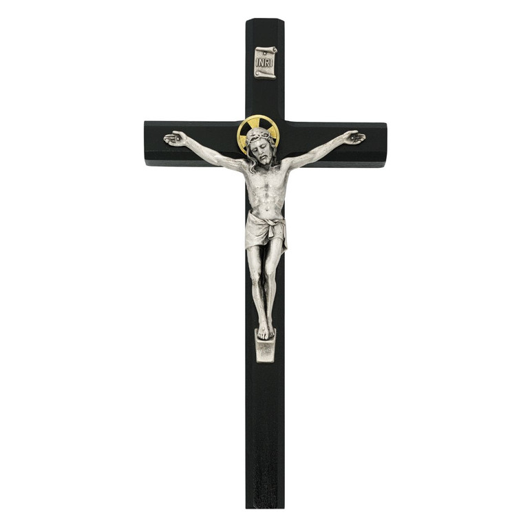 10in Black Painted Crucifix - Gift Boxed