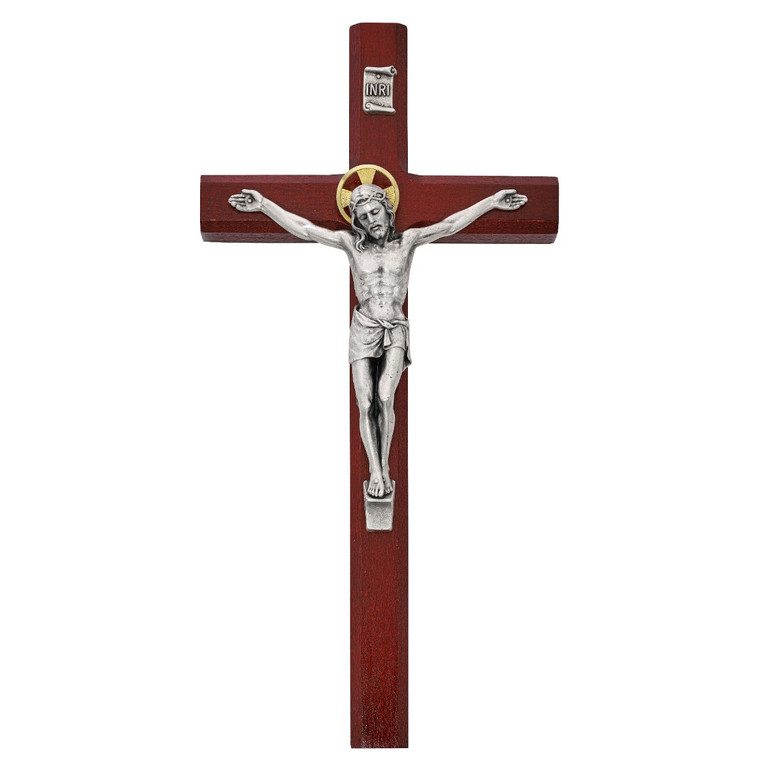 10in Cherry Stained Crucifix - Gift Boxed