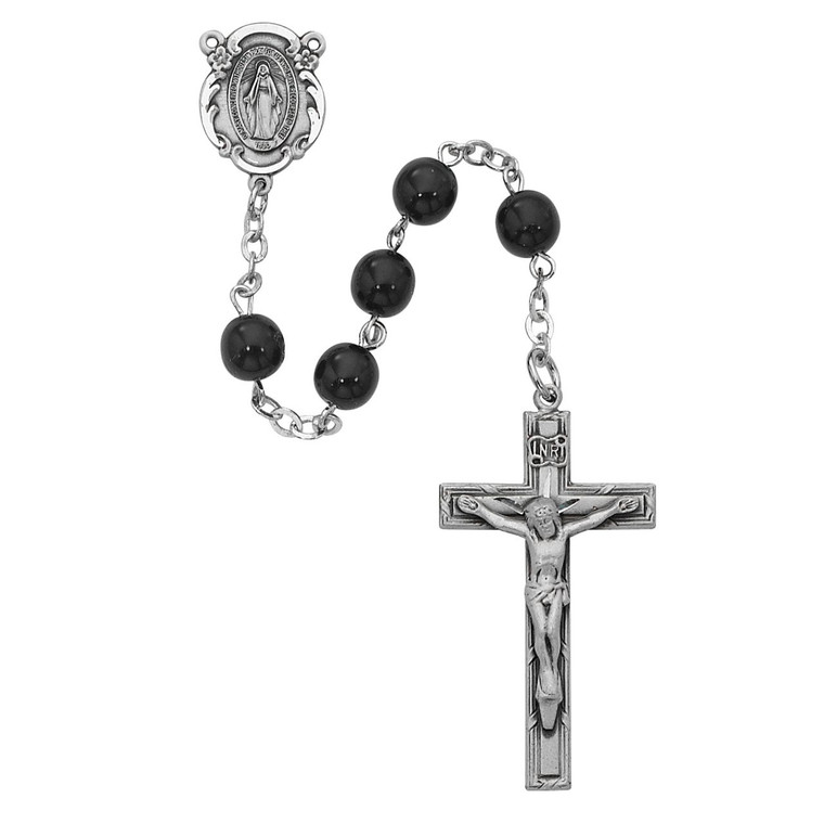 Black Miraculous Rosary Sterling Silver - Gift Boxed