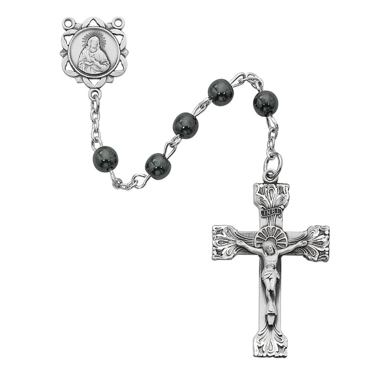Genuine Hematite Rosary Sterling Silver - Gift Boxed