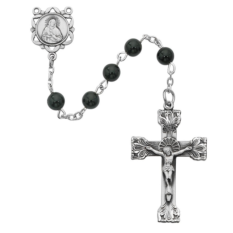 Genuine Black Onyx Rosary Pewter - Gift Boxed