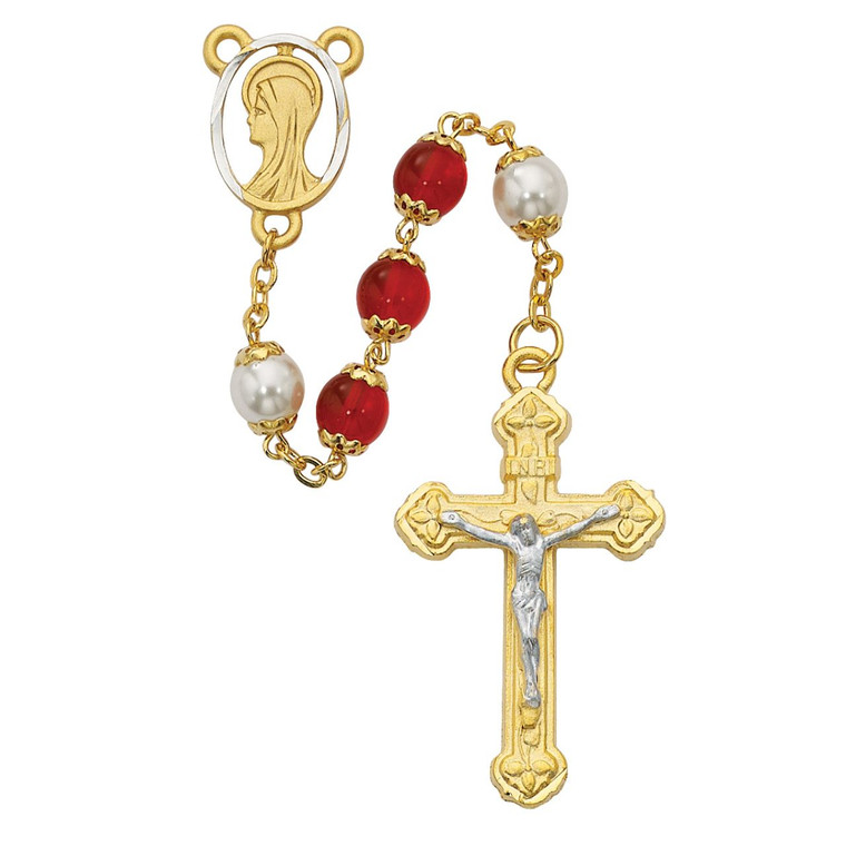 Red and Pearl like  Glass Rosary - Gift Boxed