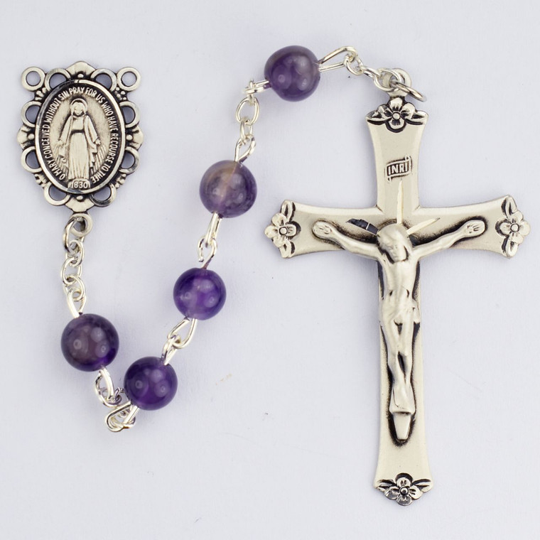 6mm Genuine Amethyst Rosary Sterling Silver - Gift Boxed