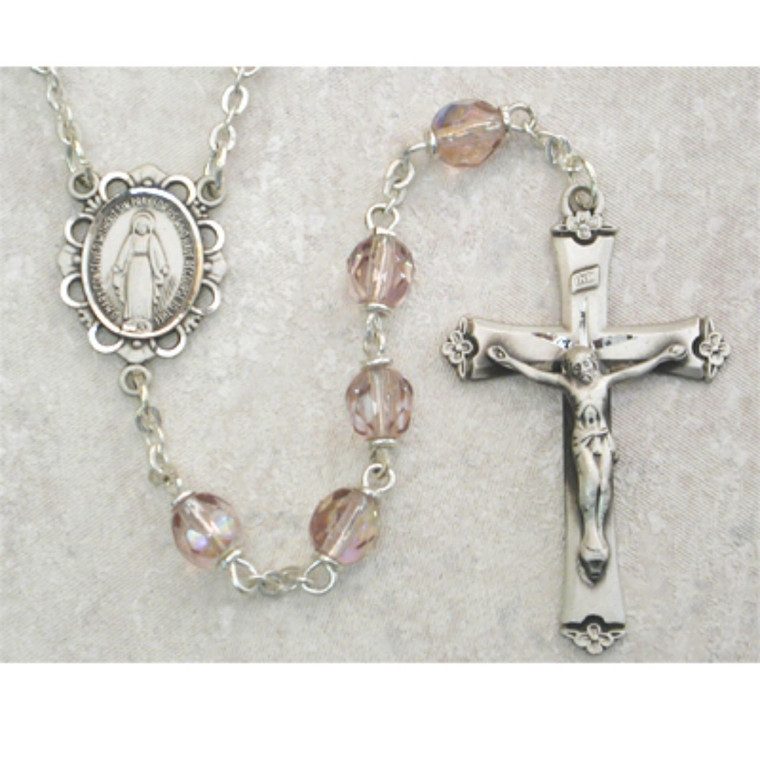 6mm Light Lavender Glass June Rosary Sterling Silver - Gift Boxed