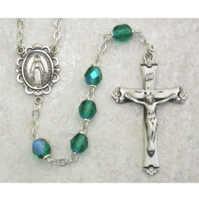 6mm Dark Green Glass May Rosary Sterling Silver - Gift Boxed