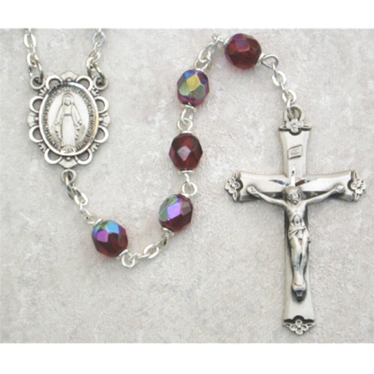 6mm Dark Red Glass January Rosary Sterling Silver - Gift Boxed