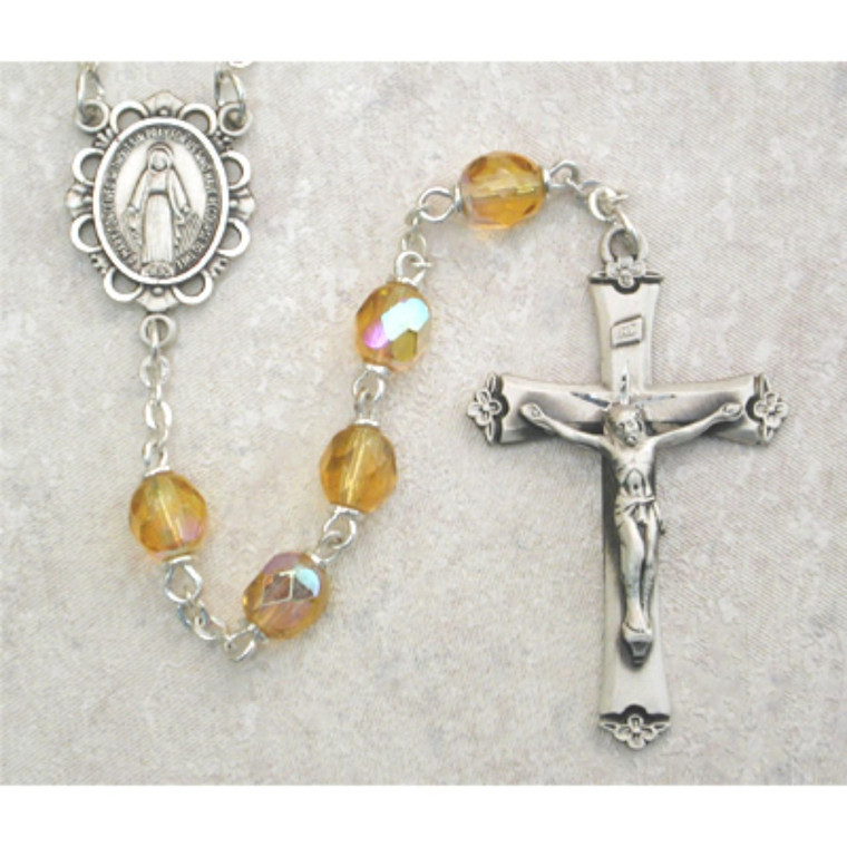 6mm Amber Glass November Rosary Sterling Silver - Gift Boxed