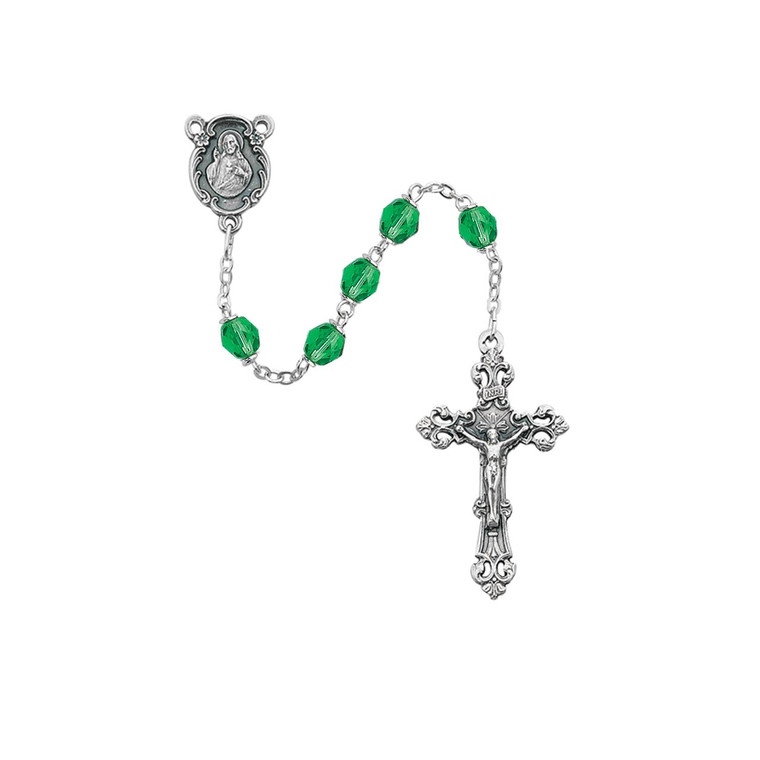 6mm Light Green Glass August Rosary Silver Oxidized 1 - Gift Boxed