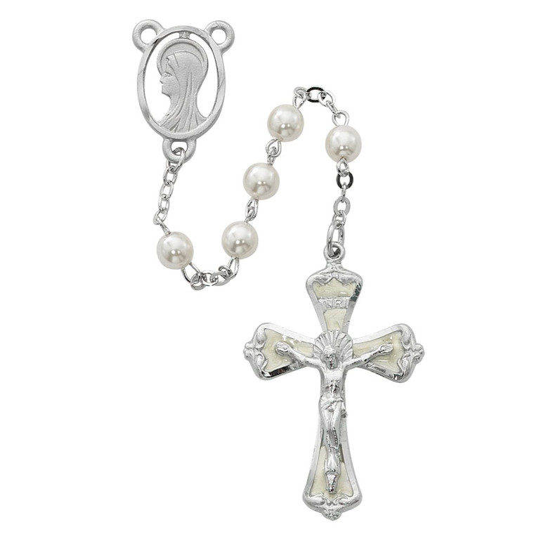 6mm Pearl Madonna Rosary Silver Plated - Gift Boxed