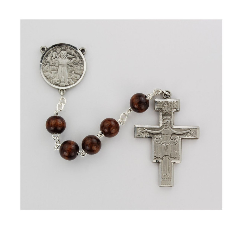 4x6mm San Damiano Rosary Pewter - Gift Boxed