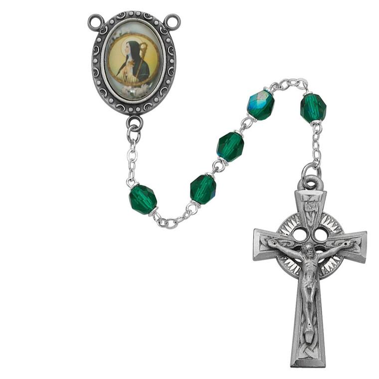 Green St Brigid Rosary - Gift Boxed
