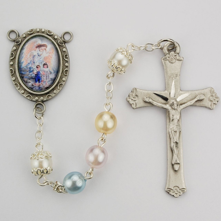 Multi Pearl like  Guardian Angel Rosary - Gift Boxed