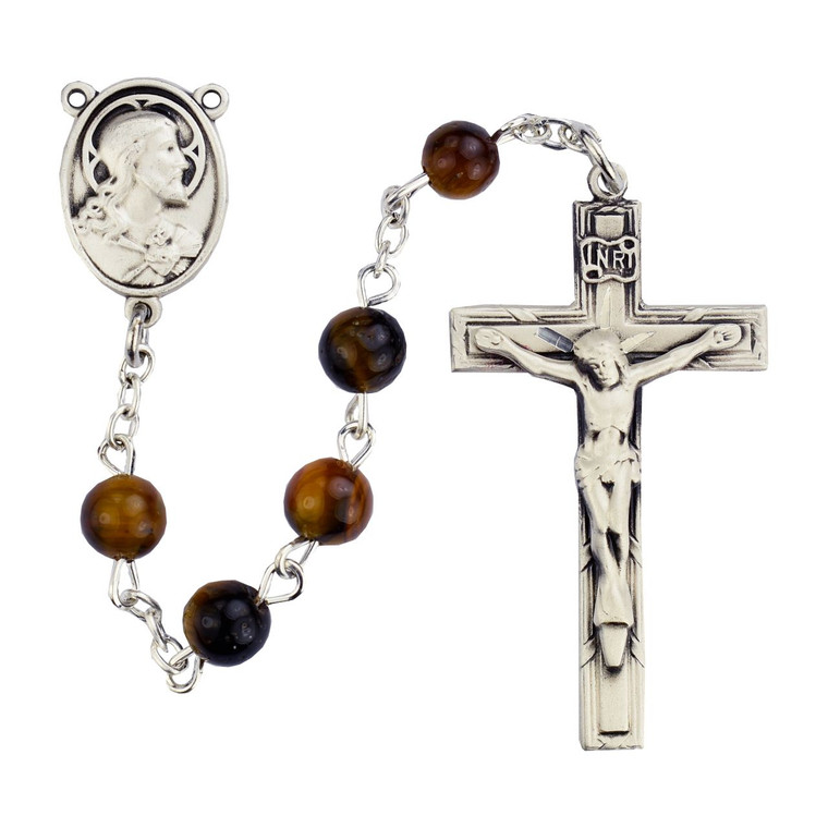 4x6mm Brown Oval Wood Rosary Sterling Silver - Gift Boxed