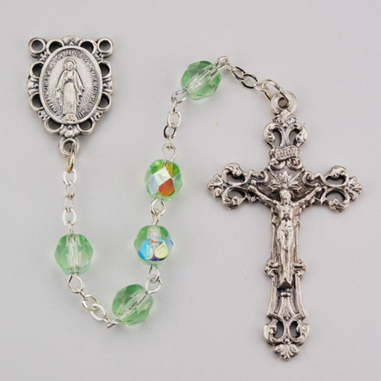 6mm Light Green Glass August Rosary Silver Oxidized 2 - Gift Boxed