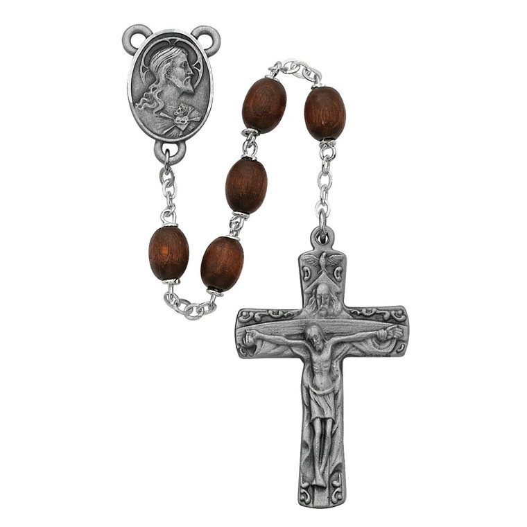 Brown Wood Trinity Rosary - Gift Boxed
