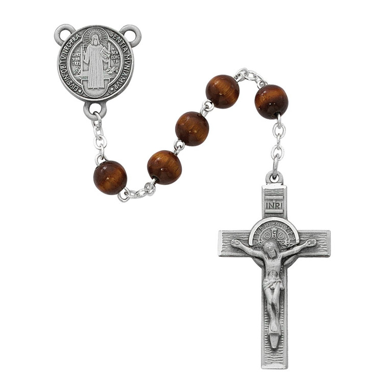 7mm Brown Wood St Benedict Rosary Pewter - Gift Boxed