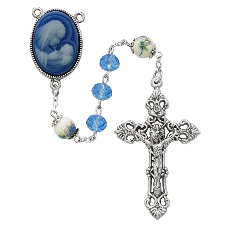 Blue Crystal and Ceramic Rosary - Gift Boxed