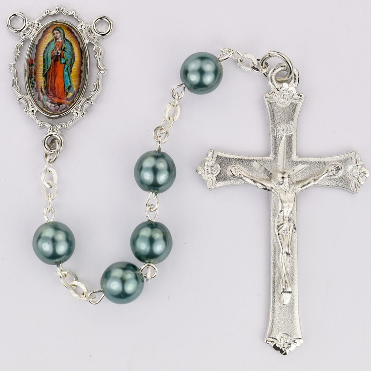 Teal Our Lady of Guadalupe Decal Rosary - Gift Boxed
