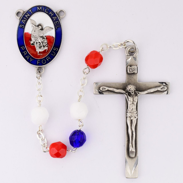Red, White and Blue St Michael Rosary - Gift Boxed