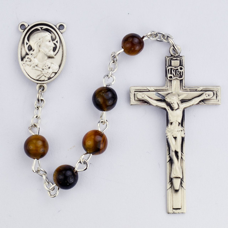 Tiger Eye with Sterling Rosary - Gift Boxed