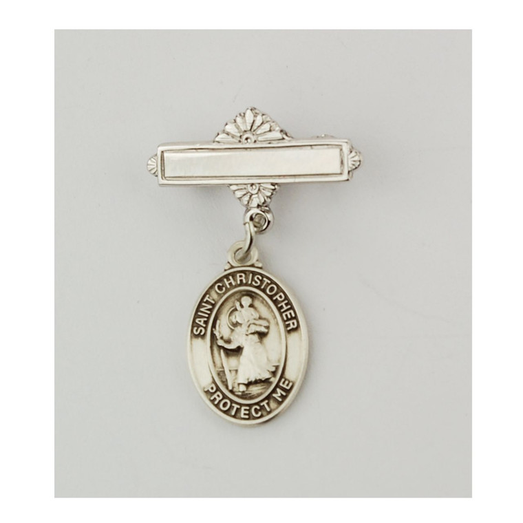 Sterling St Christopher Baby Pin - Gift Boxed