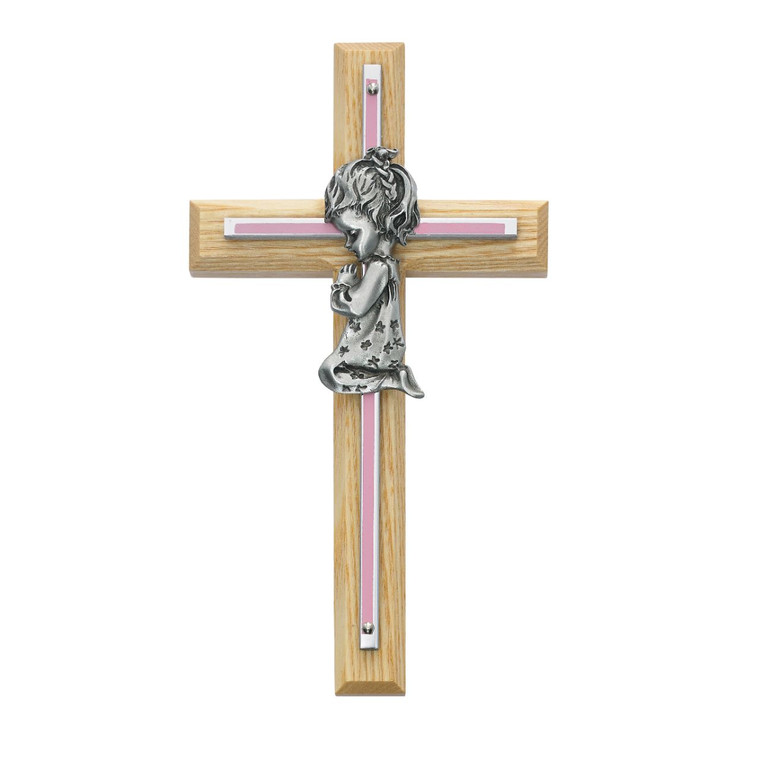 7in Oak with Baby Pink Girl Praying Cross - Gift Boxed