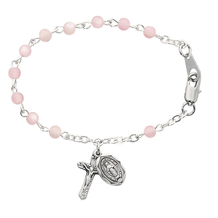 5 1/2in Pink Baby Bracelet Sterling Silver - Gift Boxed