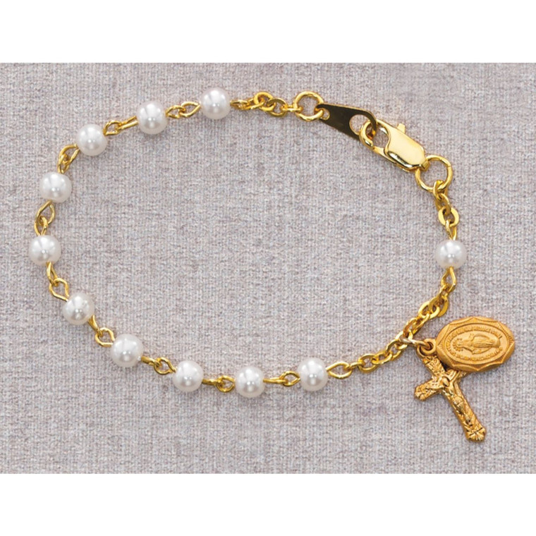 5 1/2in Gold Pearl-Like Baby Bracelet Gold Plated - Gift Boxed