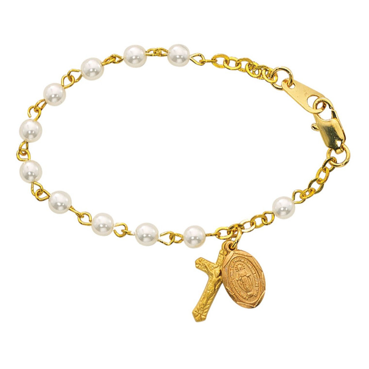 5 1/2in Gold Pearl-Like Baby Bracelet Gold Plated Sterling - Gift Boxed