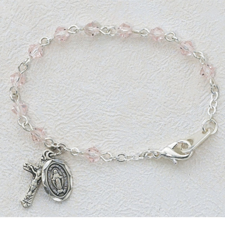 5 1/2in Light Pink Crystal Baby Bracelet Silver Plated - Gift Boxed