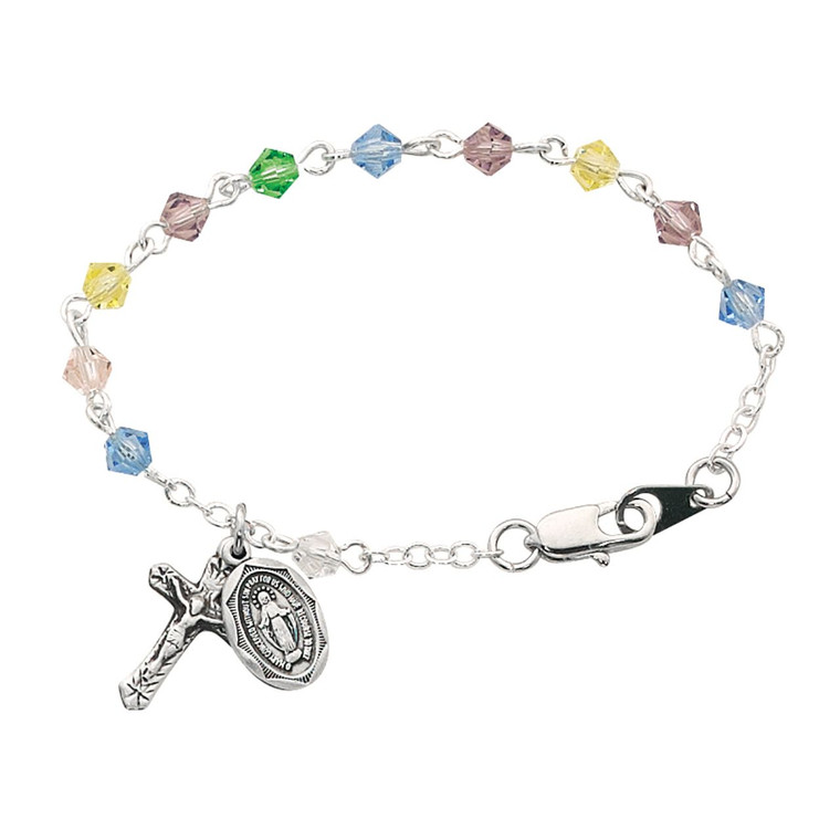 5 1/2in Light Colored Multi Crystal Baby Bracelet Sterling Silver - Gift Boxed