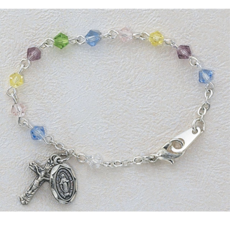 5 1/2in Light Colored Multi Crystal Baby Bracelet Silver Plated - Gift Boxed