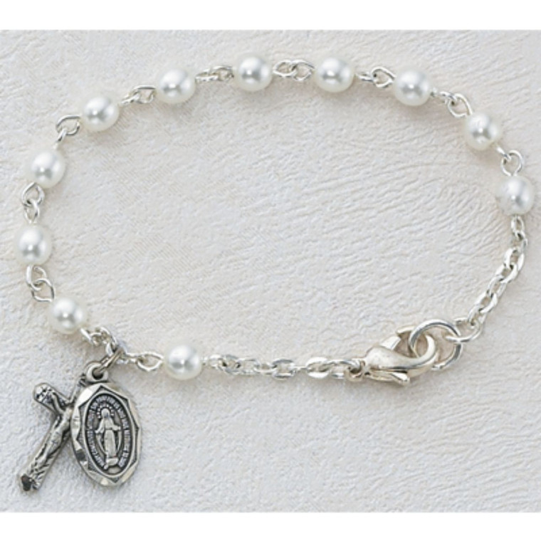 5 1/2in Imitation Pearl Baby Bracelet Silver Plated - Gift Boxed