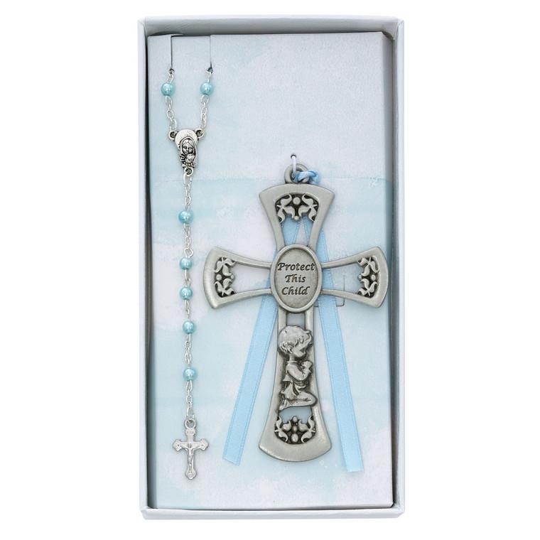 Baby Boy Crib Cross and Rosary Set - Gift Boxed