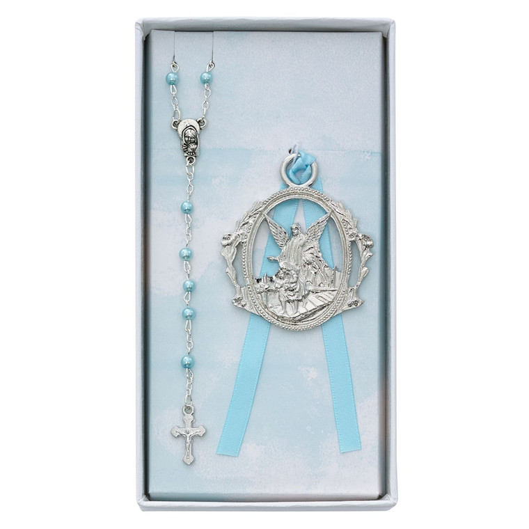 Angel Crib Medal and Blue Rosary Set - Gift Boxed