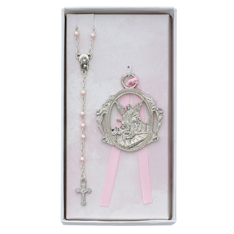Angel Crib Medal and Pink Rosary Set - Gift Boxed
