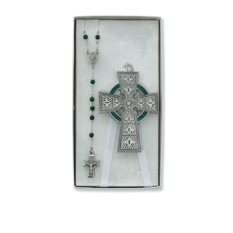 Celtic Crib Cross and Green Glass Rosary Set - Gift Boxed