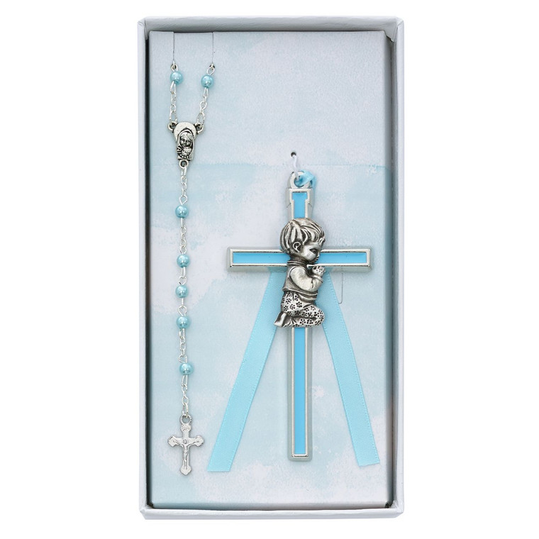 Blue Crib Cross and Blue Rosary Set - Gift Boxed