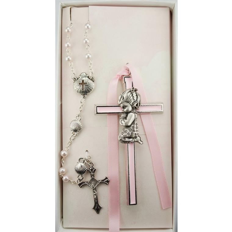 Pink Praying Girl Crib Cross and Pink Shell Rosary Set - Gift Boxed