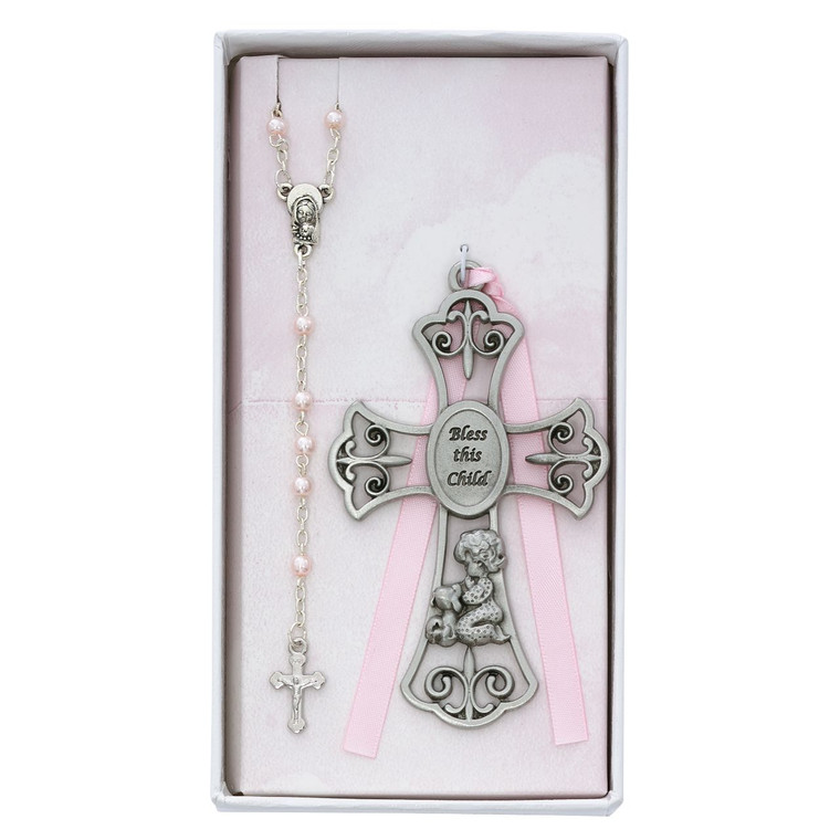 Baby Girl and Puppy Crib Cross and Rosary - Gift Boxed