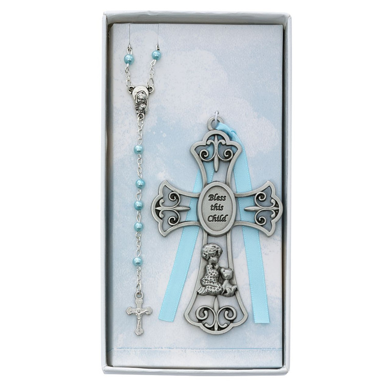 Baby Boy and Puppy Crib Cross and Rosary - Gift Boxed
